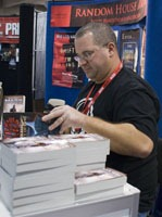 Drew signing books